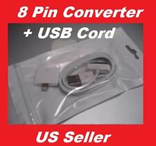 New iPhone 4 5 8-pin Lighting to 30-pin Adapter Converter + USB Data Cable Cord