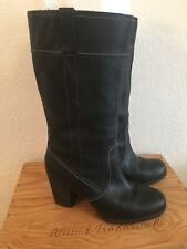Women's Timberland Black Leather Mid Calf Stacked Heel Boots