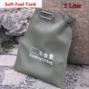 5L Portable Fuel Tank Gasoline Oil Storage Bucket Can Soft Oil Bag Petrol Cans