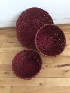 Four Rattan Baskets. Excellent Condition