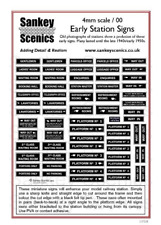 Sankey Scenics EPS4 Early Station Signs 4mm OO Gauge