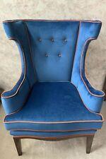 Vintage Custom Made Blue and Orange Felt Fabric Winged Back Chair
