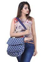 Indian Cross Body Bag Shoulder Cotton Women's Purse Floral Indigo Blue Bag Purse