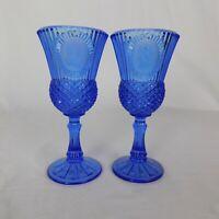 Avon Vintage Mt Vernon Blue Glass Goblets Fostoria George Washington Set of 2