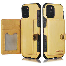 "For i Phone 11 Pro(5.8"") Shockproof Wallet Leather Case w/4 Card Slot Back Cover"