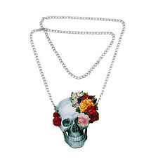 Flower Rose Skull Skeleton Wood Acrylic Pendant Chain Necklace Jewelry Gift 、Pop
