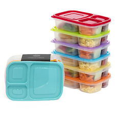 6x Childrens Kids Meal Prep Food Containers 3 Compartment Lids Plastic Lunch Box