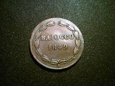 1849 risposta vocale interattiva ITALIA STATO PONTIFICIO 1 BAIOCCO MEDAGLIA. alta qualità. data RARA