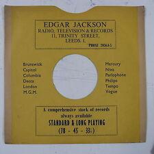 "78 rpm 10"" card gramophone record sleeve/ cover EDGAR JACKSON , LEEDS"
