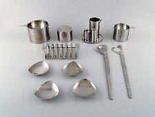 """Arne Jacobsen for Stelton. """"Cylinda Line"""" salad set, carving set, two ashtrays"""