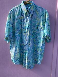 Vintage 90s ABSTRACT Short Sleeve Silk Festival Party Shirt Size Small