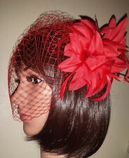"Red birdcage veil 9"" with flower feather clip fascinator. Veil detaches"