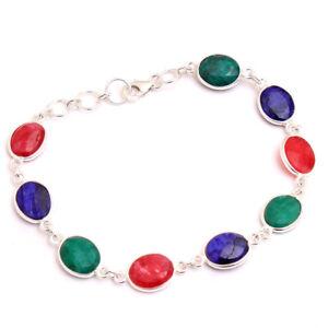 Emerald Ruby Sapphire Gemstone Bracelet Sterling Silver HANDMADE Fine Jewelry