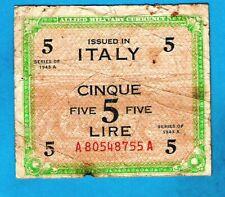 Italy M18a 5 Lire AMC WWII English & Italian Issue Serial# A- A 1943A aVF SCARCE