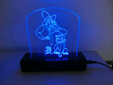 LAMPADA ABATJOUR PEXIGLASS DESIGN LED BLU CURIOSO COME JEORGE SCIMMIA MONKEY NEW