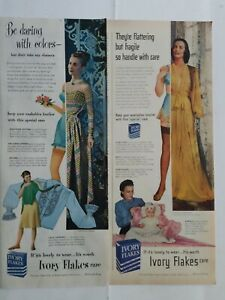 1947 1948 Ivory soap flakes for lingerie women's blue girdle bra underwear ads