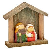 Natale Natività Fisso Figura Scena - Mary Joseph E Bambino Gesù IN Un Stalla
