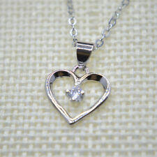 Shiny 925 Sterling Silver PL Hollow Cut Out Heart CZ Pendant Necklace Gift UK