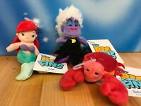 "Disney Tiny Big Fin LITTLE MERMAID 3½"" Plush Ariel Sebastian Ursula Set of 3 NWT"