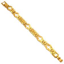 Strerling Silver Yellow Gold Plated Men Chain Bracelet
