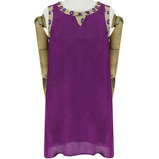 Giles Deacon Purple Taupe Lip Embroidery Mesh Edged A-Line Shift Dress IT42 UK10