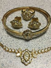 14K Gold Natural Diamond Bracelet Necklace Earring Ring Jewelry set 7++ct 38++g