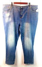 Ava & Viv Boyfriend Crop Jeans Women's Plus Size 24W Medium Wash Sandblasted New