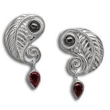 & Black Star Diopside Post Earring Offerings Sajen Sterling Silver Leaf Garnet