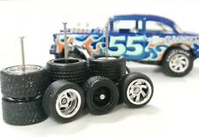 Hot Wheels 1/64 Rubber Wheels Real Riders 55 Chevy Gasser 10/12mm 3 sets Mix