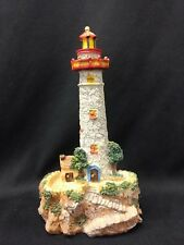 "8"" Lighthouse Resin Statue Gray Stone Red Top Rocky Coastline"