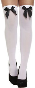 Ladies Women Girls Hold Ups Over Knee Stockings Socks Thigh High With Bow Black