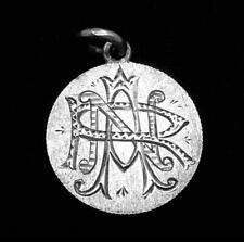 Antique 1892 Victorian Love Token 900 Silver Dime Initials 24736