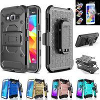 Samsung Galaxy Phones Tri-Layer Holster [Kickstand] Case   TG Screen Protector