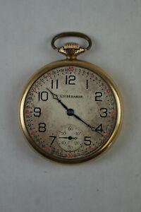Antique South Bend Studebaker Pocket Watch 14 Kt Gold Filled 21 Jewel