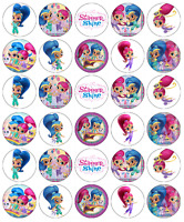 30 x Shimmer And Shine Cupcake Toppers Edible Wafer Paper Fairy Cake Toppers