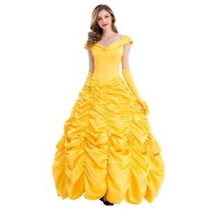 UK Ladies Belle Cosplay Costume Beauty The Beast Princess Fancy Dress Halloween