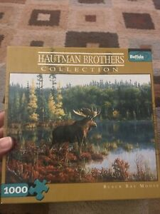 Hautman Brothers Collection Puzzle - Black Bay Moose 1000 Piece Complete