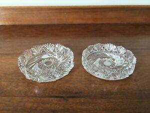 Pair of Vintage Cut Glass Coasters - 9cm Diameter