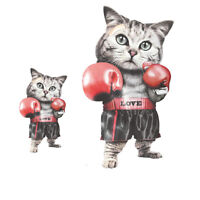 boxing cat ironing sticker heat transfer iron on patches for clothing appliquAUE