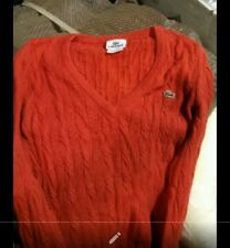 Vintage Lacoste men's Small/Med red v-neck pullover sweater cable knit size 38