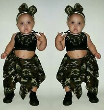 Baby toddler 3 piece outfit camo, swag, style