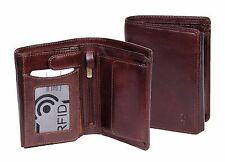 Mens RFID Blocking BROWN Leather Bifold Wallet ID Credit Cards Cash Coins BOXED