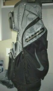 Nike Performance Mens Golf Bag Silver/Black 14 Club H20 Resist With Rain Cover