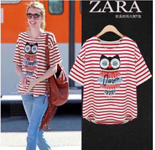 #A250 Diamond Owl Print Blouse - Red Stripes