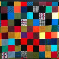 Vintage Farmhouse Patchwork Quilt Corduroy Double Knit Houndstooth Retro Cottage