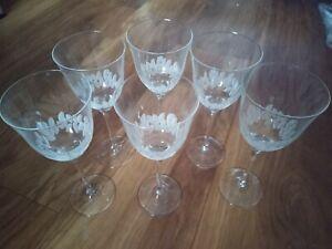 "Set of 6 Etched Wine Glasses 8x3"" deep etched leaf design for beauty & grip"