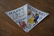 PERSONALISED BEAUTY & THE BEAST BUNTING/BANNER/ PARTY BIRTHDAY DECORATION