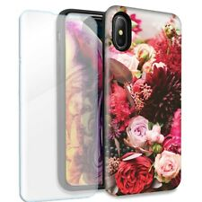 Colorful Flowers Double Layer Case Glass Screen For Apple iPhone X/XS
