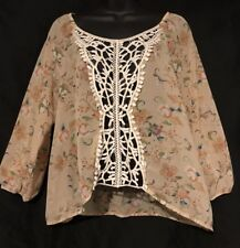 Beige Floral Sheer Blouse With Lace  XL Extra Large Kelly Renee