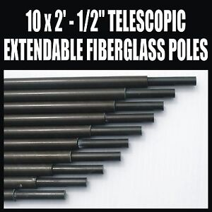 "x10 2' x 1/2"" FIBERGLASS TELESCOPIC EXTENDABLE MAST SET  AMATEUR RADIO ANTENNA"
